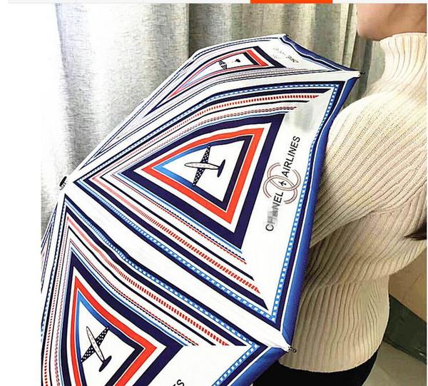 Special Design C Umbrella Women 3 -Fold UV Shade Protection Sunny And Rainy Adults Black Coating Umbrella
