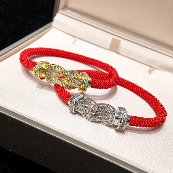 Fabrika Toptan 925 Ayar Gümüş Bilezikler At Nalı kırmızı halat Yılan Zincir Fit Erkekler Kadınlar Için Charm Boncuk Bileklik Bilezik Takı Hediye