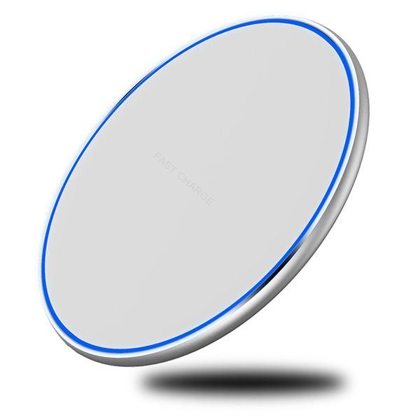 Mini caricatore rapido senza fili Pad QI 10W Potenza veloce Ricarica Pad liscio in metallo con luce a LED Per Iphone Xs Per Huawe Mate20 tutto QI Device
