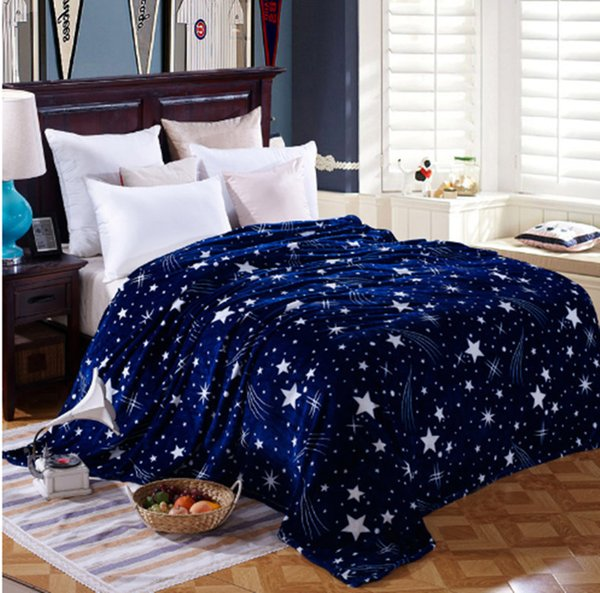Urijk Bright Stars Bedspread Blanket 200x230cm Super Soft Flannel Blanket To On For The Sofa/Bed/Car Portable Plaids Blankets