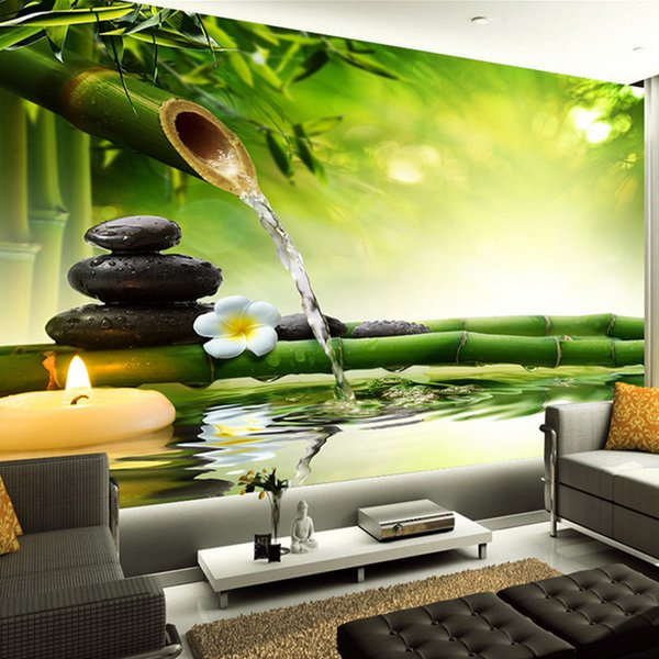Custom 3D Photo Wallpaper Living Room TV Backdrop Green Bamboo Flowing  Water Natural Landscape Interior Decoration