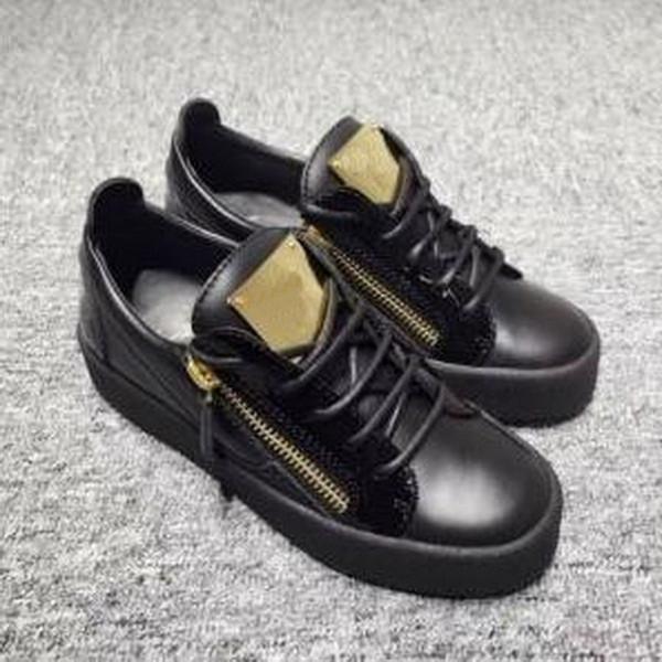 Heiße Verkäufe Mode Marke Schuhe Herren Frauen Casual Low Top Schwarz Leder Sportschuhe Doppel Reißverschluss Flache Männer Turnschuhe Eisenbleche Schuhe