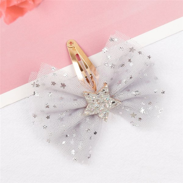 2019 cross-border hot new gold wave silver five-pointed star bow with small BB clip baby tiara hair accessories