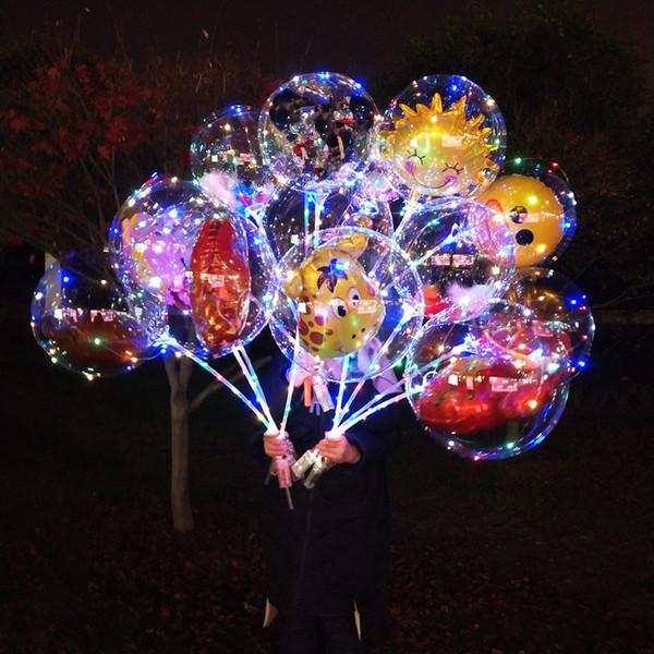 best selling LED Cartoon Bobo Ball Balloon Luminous Light Up Transparent Balloons Toys Flashing Balloon Christmas Party Wedding bar club decoration