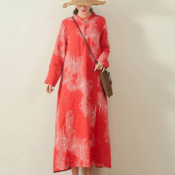 Boho Linen Dress Women Vintage Casual Loose SPRING Beach Flora Printed Dresses Ladies Long Sleeve Maxi Long Vestidos Robe Femme Plus Size
