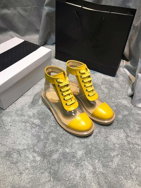 chaussures de designer de luxe de style européen chaud bottes de mode chaussures de femmes bottes de mode bottes PVC Martin avec cuir