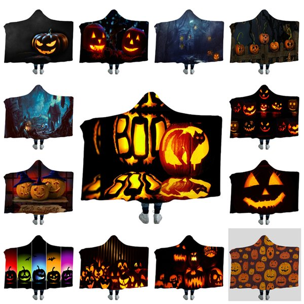 Hot Halloween 150*130cm 3D Digital Printed Hat Blanket 36 Halloween Styles Warm Blanket Autumn and Winter Magic Blanket T3I5242
