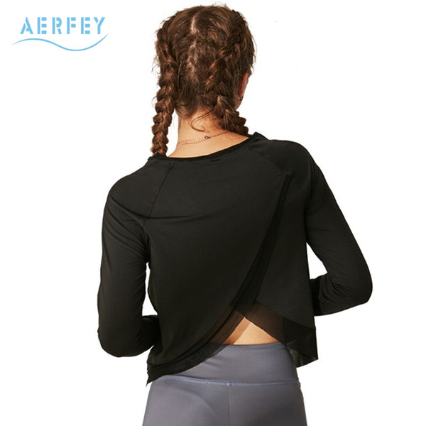 Aerfey Women Short Loose Style Sports Yoga Shirts with Long Sleeves Breathable Running Top Fast Dry Gym Clothes Solid Color #191021