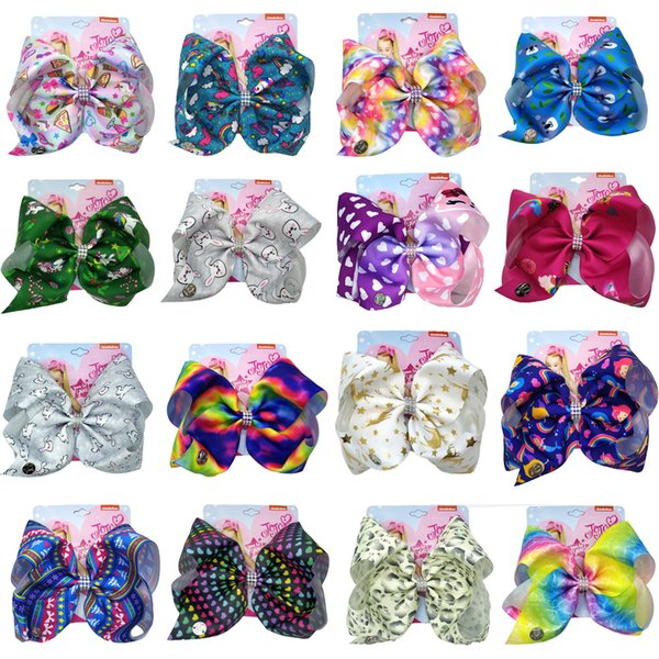 8INCH Girls JOJO Siwa Large Hair Bows with Clips Kids Grosgrain Printed Bowknot Barrettes Children Large Hair Accessories JH10