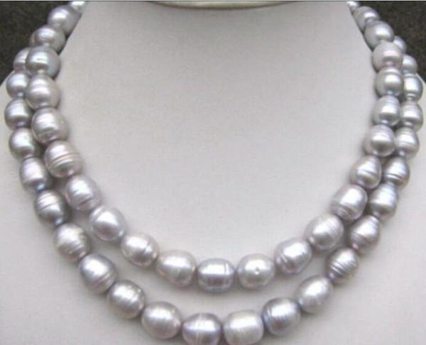 Jewelryr Perlenhalskette SCHÖNE 9-10mm natürliche tahitian silbergraue Perlenhalskette 32