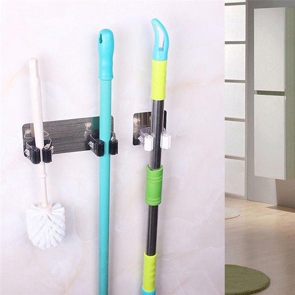 Bathroom Bracket Wall Mounted Mop Holder Brush Broom Hanger Storage Rack Kitchen Tools Bathroom Suction Hanging Tools New