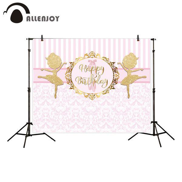 heap Background Allenjoy backgrounds for photography studio Pink Stripes Damascus Gold Ballet Dancer Happy Birthday backdrop newborn phot...