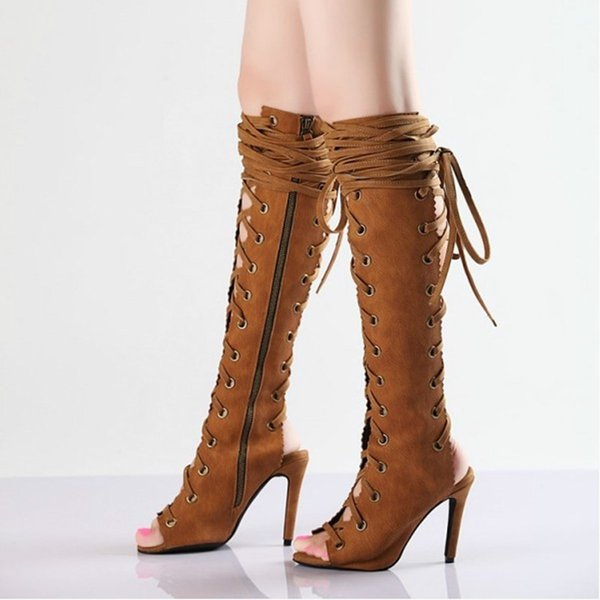 Retro Brown Summer Knee High Sandals Boots Women Open Toe Lace-Up High Heels Slingback Shoes Woman Side Zip Hollow Long Booties