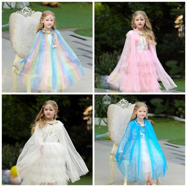 Moda per bambini Cappe per bambina Blu Bianco Viola Colore Mantelli da principessa Abiti da festa Per Halloween Natale Esibizione 27bj E1