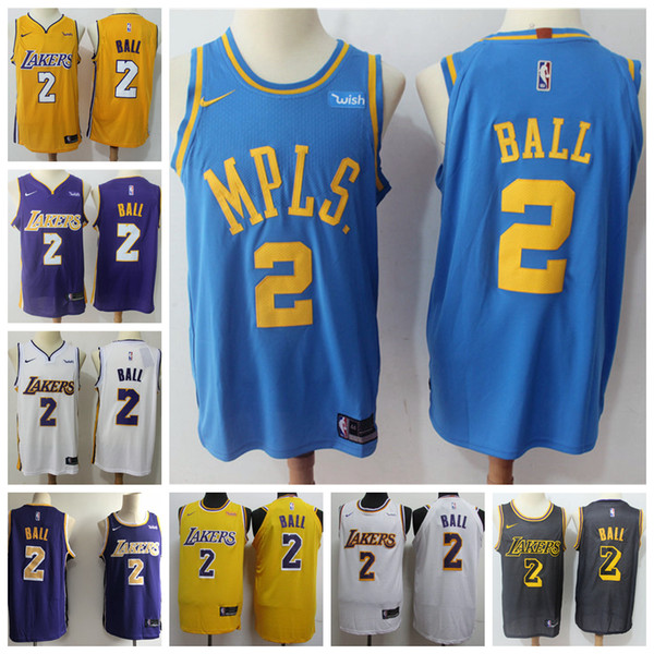 fe734012c28 2019 Mens Los Angeles Lakers 2 Lonzo Ball Basketball Jerseys Stitched Lakers  New City Edition Lonzo