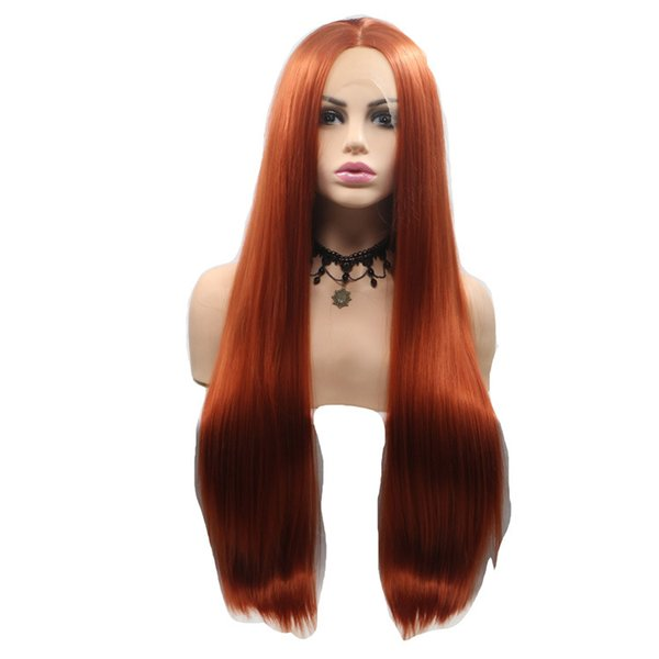 Headgear Chemical Fiber Long Straight Hair Copper Red Hair Extention Simple New Top Fashion Hot Sale