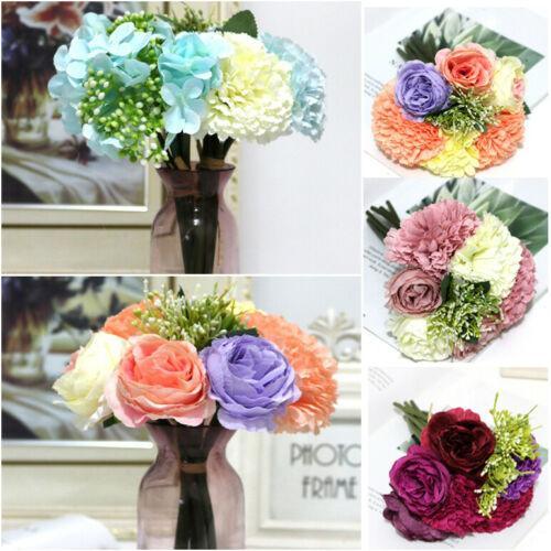6 Kafa Yapay İpek Karanfil Çiçek Gelin Buketi Ortanca Ev Partisi Düğün Dekorasyon
