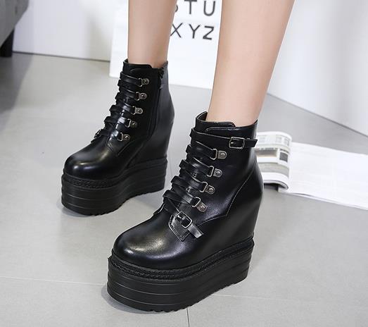 Mode Femmes Gothique Bottes lacées Bottines plateforme Punk Chaussures Ultra très haut talon 13cm Bootie Bloc Chunky taille du talon 34-39