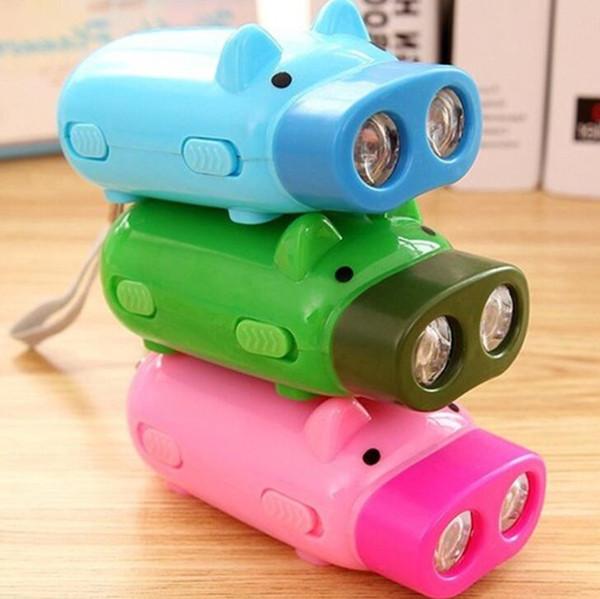 мини-колышек рука нажать фонарик Ручной портативный электрический фонарик 2LED самогенерирующего факел электричество на открытом воздухе привел ребенок лампа