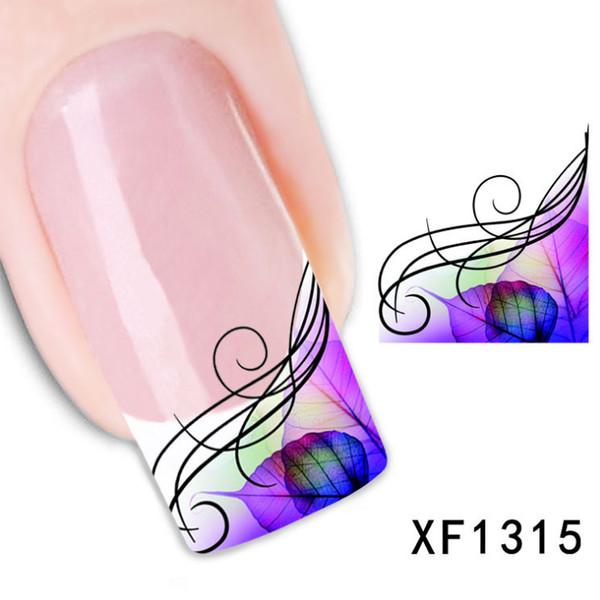 1 hojas moda tatuajes pegatinas belleza marca de agua arte de uñas francés calcomanías consejos estampado salón calcomanías de transferencia de agua XF1315