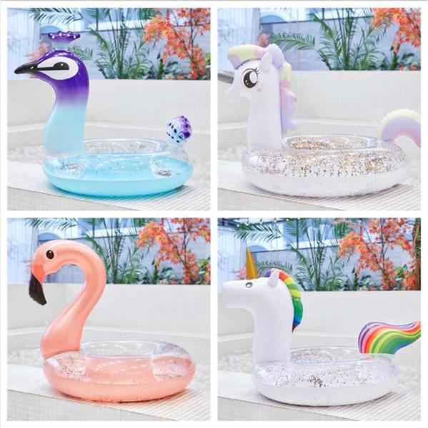 Sequins Unicorn Floats Adult Flamingo Float Swimming Ring Adult Life Buoy Unicorn Floating Ring Sequins Pools Outdoor Play CCA11539 10pcs
