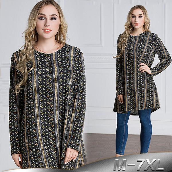 Artı Boyutu 6XL 7XL 2019 BAE Islam Arapça Uzun Tops Abaya Dubai Türkiye İslam Müslüman Uzun Kollu Üst Kadın Ropa Musulman Giyim