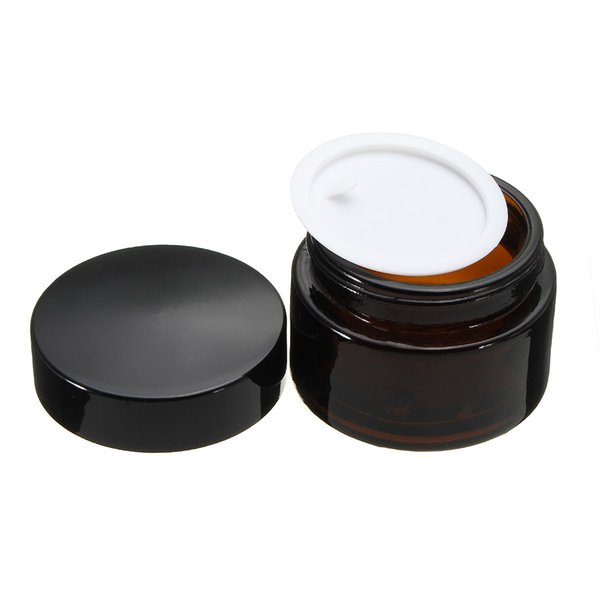 60Pcs 30g Amber Glass Facial Cream Empty Jar 30ml 1OZ Cosmetic Sample Packing Container Refillable Pot With Black Lid For Travel