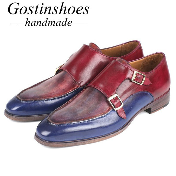 GOSTINSHOES HANDMADE Goodyear Welted Derby Dress Shoes Blu Rosso Dual Buckle Strap Pointed Toe Slip-On Scarpe uomo Handmade SCT05