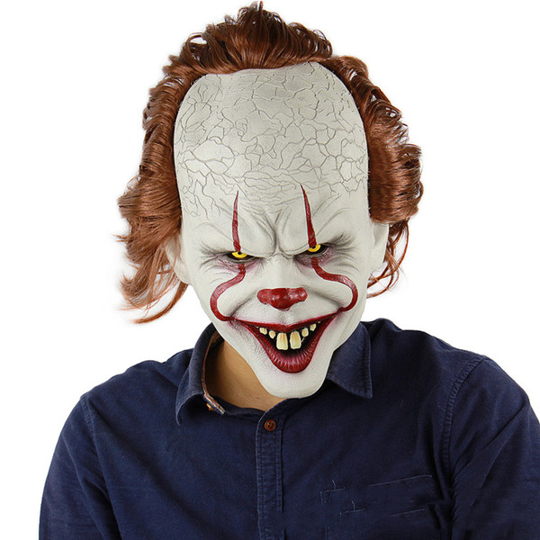 Film in silicone Stephen King's Joker Mask Full Face Horror Clown Maschera in lattice Maschere di Halloween Festa Orribile Cosplay Prop Mask T2I5403