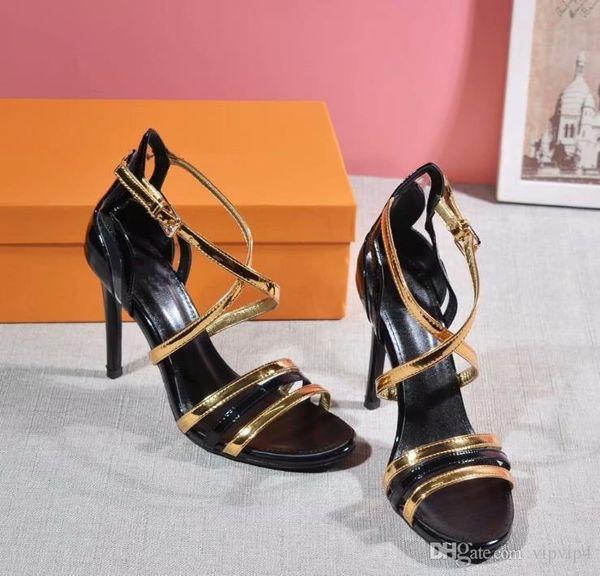 El último color dorado con costuras de cuero de tacón alto para mujer zapatos con hebilla de cuero para mujer zapatos de tacón alto zapatos de boda puntiagudos todo incluido original