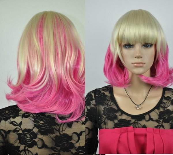WIG NEW STYLE Free Shipping >>>>cos light blonde and rose red mix short curly Cosplay FULL WIG