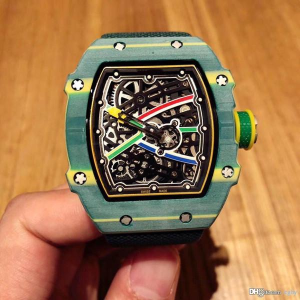 High-end orologio 3A uomini, fibre di carbonio, centimetri RM67.48 in size.With nylon caratteristica elastica meccanico di strap.Men