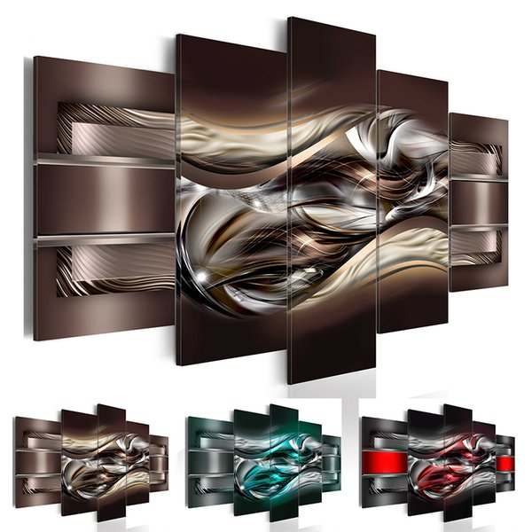 Abstract Canvas Wall Decoration Scroll Poster Black and Red Art Print 5 Panels HD Printed for Home Decor Room Wall Pictures(No Frame)