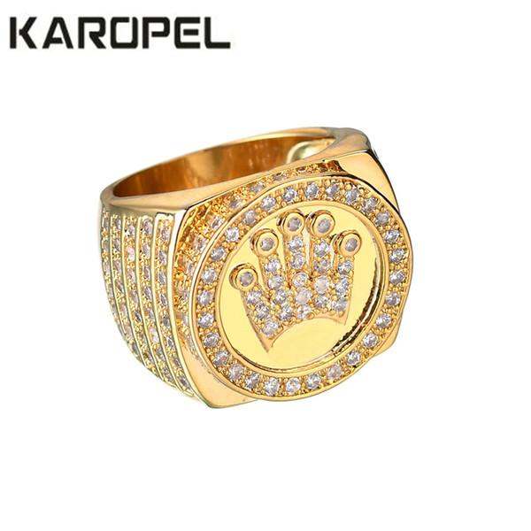 Karopel Hip Hop Jóias Rei Coroa Presente do Dia dos Pais Para Homens Bling Micro Pave Cz Cor de Ouro Zircon Anel C190420