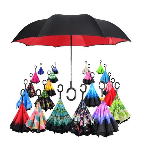 top popular Umbrella Wholesale Store 63 Patterns Sunny Rainy Umbrella Reverse Folding Inverted Umbrellas With C Handle Double Layer Inside Out Windproof 2021