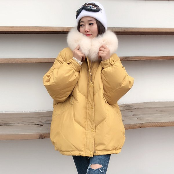 Women 90% Down jacket winter 2018 plus size manteau femme hiver short coat hooded with real fox fur Down parka oversize korean