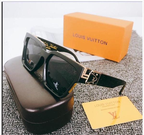 Gafas de sol de estilo vintage metal grueso 0glass espejo Gafas de sol de alta calidad de la estrella superior Luxry Qualtiy nuevo de las mujeres con la caja sin montura