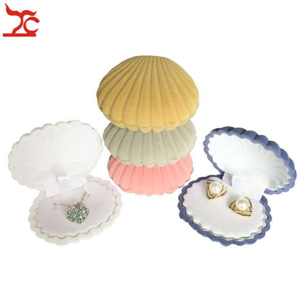 Sale 50Pcs Lovely Shell Shape Velvet Pendant Earring Case Engagement Wedding Party Necklace Jewelry Display Storage Gift Box