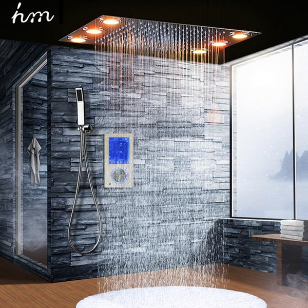 Digital Thermostatic Shower Set Controller Touch Control Panel Modern Luxury European Style SUS304 Rainfall Bathroom LedCeiling 20170805#