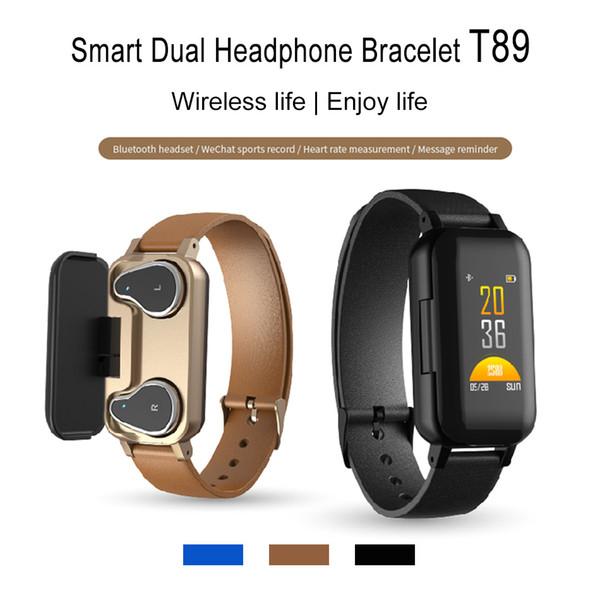 T89 Bracelet Intelligent TWS Écouteurs Bluetooth Écouteurs Fitness Tracker Bracelet Fréquence Cardiaque Montre De Sport Pour IOS android Smartphones avec Boîte