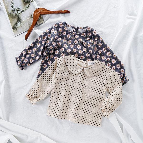 Spring Girls Blouse Kids Baby Girl Long Sleeve Cotton Tops Flower Dot Printed School Blouses for Girls Shirts Children Clothing