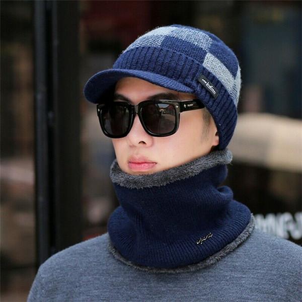 2020 SICAK katı gündelik Erkekler Kadınlar Kış Sıcak Tığ Örgü Baghee Beanie Yün Şapka Cap Eşarp Seti Erkek Kış Açık Aksesuarları