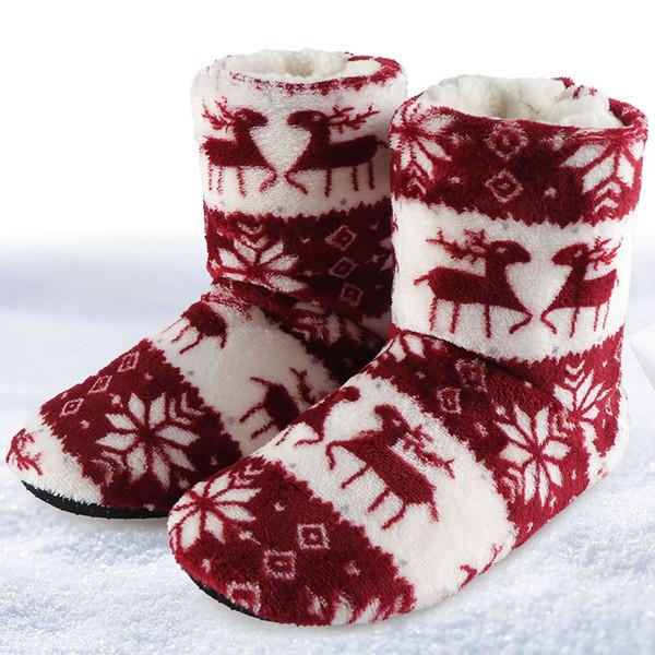 Winter Slippers Women Plush Warm Cotton Home Slippers Christmas Elk Indoor Socks Shoes Ladies Woman Floor Shoes Women