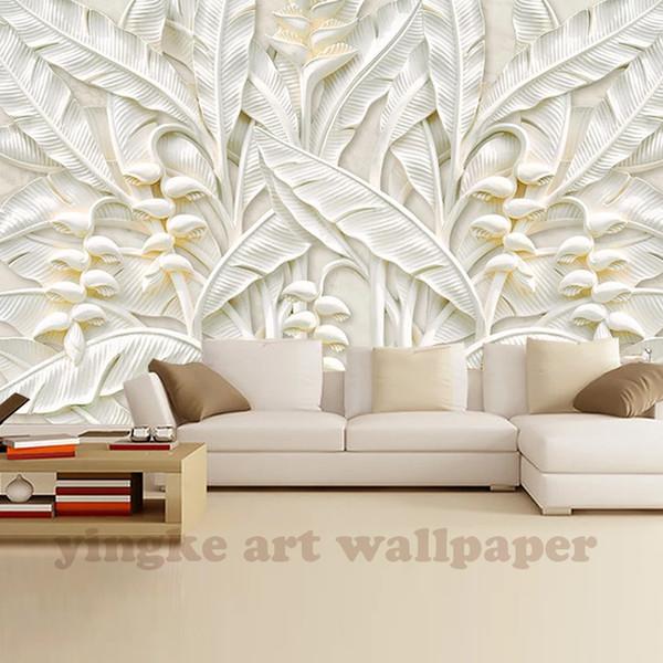 Sob encomenda da foto papel de parede grande parede pintura papel de parede de fundo da sala de estar TV folha branca 3d mural papel de parede