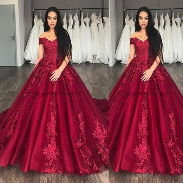 Red Wedding Dresses 2019 Off Shoulder Lace Appliques Puffy Ball Gown Plus  Size Formal Bridal Gowns Plus Size Sweetheart Ball Gown Wedding Dresses ...