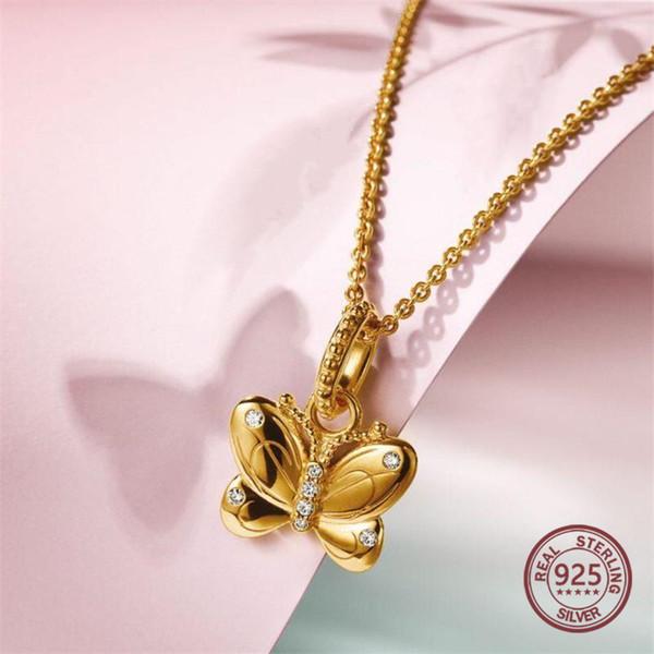 100% plata esterlina 925 2019 colección de primavera NUEVO 18K Collar de mariposa de oro amarillo Regalo femenino para cadena de mujeres Fabricación