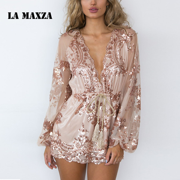 Elegant V Neck Sequin Summer Romper Jumpsuit Woman 2018 Long Sleeve One Piece Bodies Woman Sexy Bandage Playsuit Women