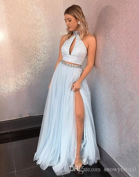 Light Skirt Blue Two Pieces 2019 Long Prom Dresses Halter Lace Top Tulle Skirt A-line Teens Split Formal Evening Party Dresses Custom Made