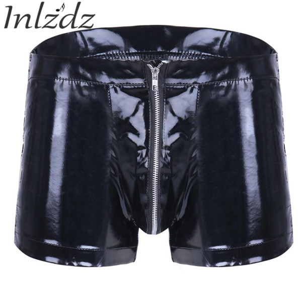 Underwear Men Latex Shorts Gay Underwear Lingerie Panties Patent Leather Zipper Boxer Shorts Erotic Clubwear Male Underpants