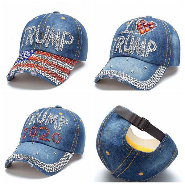 top popular Donald Trump Denim Baseball Cap outdoor I love Trump 2020 Rhinestone hat sports cap striped USA Flag Cap Snapback LJJA3781-46 2020